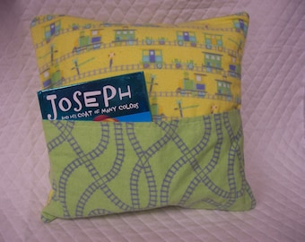 Train Reading Book Pillow 14X14