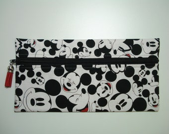 PENCIL Pouch / Black and White MICKEY MOUSE Fabric Purse / Fabric Zipper Pouch / Mickey Soft Fabric Pouch / Mickey Pencil Holder