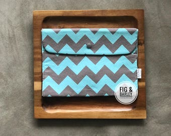 Diaper Clutch - Blue Chevron - Baby Boy - Diaper Wallet - Diaper Bag Organizer - Small Diaper Clutch - Baby Shower  - Nappy Bag
