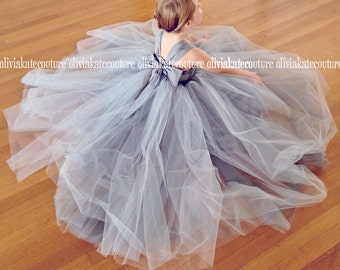 Silver Flower Girl Dresses, Flower Girl Tulle Gray, Toddler Princess Baby Girls Dress, Navy Flower Girl Floor Length, Ivory White Weddings