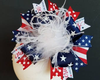 Stars & Stripes Over The Top Boutique Hairbow Fourth Of July Bow/Headband/Hairclip