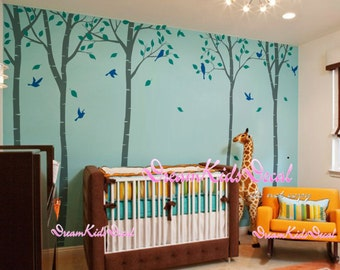 tree vinyl wall decals nursery wall decals children wall sticker nursery room girl bedroom decor-Tree with flying birds wall decal-DK151