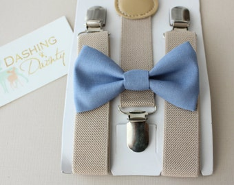 Bow Tie and Suspenders, Ring Bearer OutFit, Boys Bow Tie, Boys Suspenders, Boys First Birthday Outfit, Tan Suspenders, Ring Bearer Bow Tie