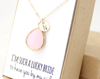 Blush Pink / Gold Teardrop Necklace - Blush Pink Bridesmaid Necklace - Pink And Gold Necklace - Bridesmaid Gift Jewelry - Gold Necklace -NB1