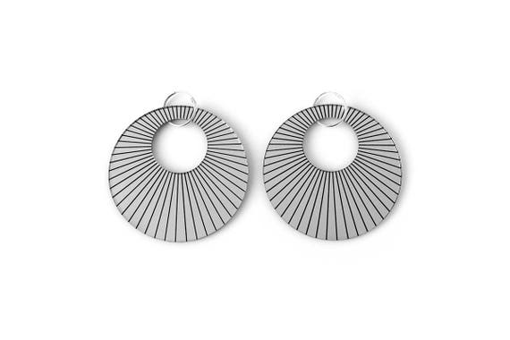 Statement hoop earrings - radial - silver mirror - big earrings - graphic jewelry - minimalist jewellery - designer - lasercut acrylic
