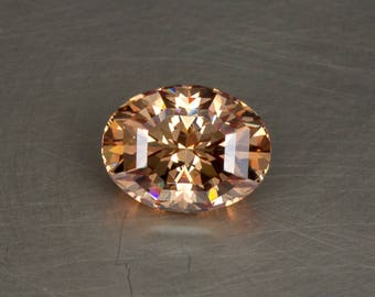 Gorgeous Peachy Pink Padparadscha Colored Cubic Zirconia, Loose Lab Created Precision Faceted Oval Gemstone