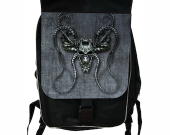 Grungy Devilish Skull Large Black School Backpack
