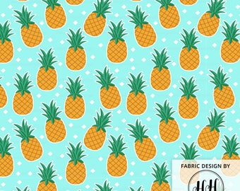 Pineapple Fabric By The Yard - Hawaiian Pineapples on an Aqua Background Print in Yard & Fat Quarter