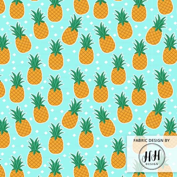 Pineapple Fabric By The Yard Hawaiian Pineapples On An