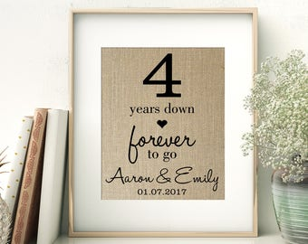 4 Years Down - Forever to Go | 4th Fourth Wedding Anniversary Personalized Burlap Print | Gift for Wife Husband | Personalize for ANY Year