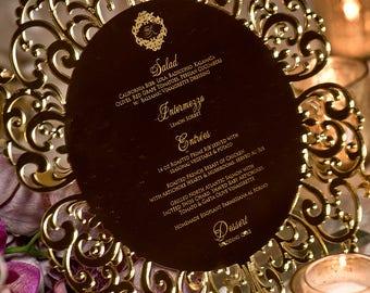 Gold Acrylic Wedding Charger Menus Invitations Luxury Acrylic Wedding Invitation, Gold, Silver, White, Black, Blue