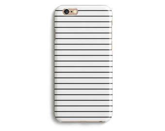 Lines Stripes White Black Phone Case iPhone X 8 7 6s 6 Tough 6s Plus 5 5s SE Samsung Galaxy S6 S7 Edge Handmade Fashion Design Protective
