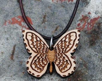 Wooden Butterfly Necklace Summer Insect and Nature Explorer Series