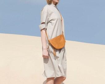 Leather Cross Body Bag, Gift for Women ,Amber Brown Small Leather Bag, Crossbody Purse, Small Handbag - Euston