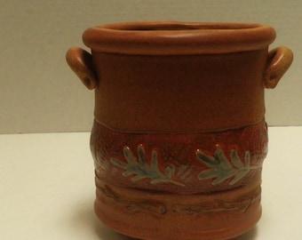 handmade Stoneware POT / Vase with feet & Handles, Oak Leaf and twig design