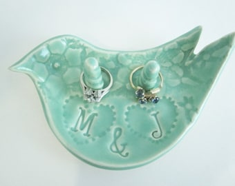 Ring holder, Ring dish, Custom ring dish, ceramic engagement ring bowl Gift for Bride, Made to Order