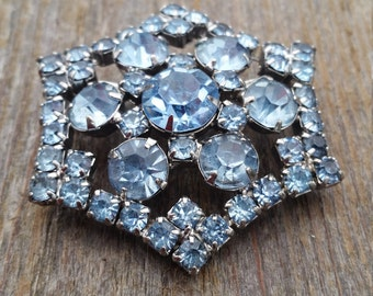 Cornflower Blue Rhinestone Hexagonal Brooch