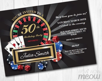 Casino invitation Etsy