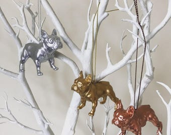 French bulldog christmas decoration French bulldog christmas tree decoration French bulldog dog Metallic Gold Silver Rose Gold Copper colour