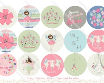 Fairy Wishes Kid M2MG 1 Inch Circles Collage Sheet for Bottle Caps, Hair Bows, Scrapbooks, Crafts, Jewelry & More