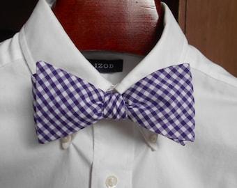 Bow Tie -  Furman Purple Gingham - Men's self tie