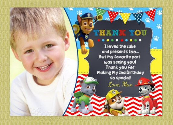 Paw patrol thank you cards birthday thank you notes diy bookmarktalkfo Gallery