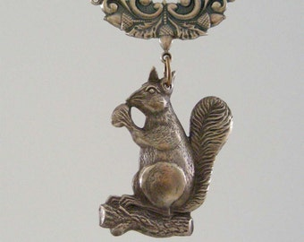 Vintage SQUIRREL Pendant With ACORN - Brass Stamping -  Large for Necklace