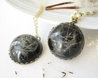 Real Dandelion Necklace Dandelion Jewelry Resin Necklace Black Necklace Gift For Her
