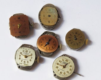 6 Vintage Distressed Watch Faces with Movements- 6 watch/parts supplies-