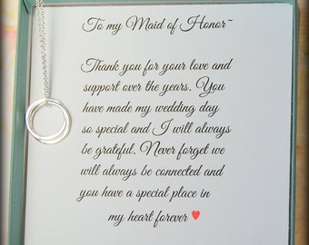 Maid of Honor gift, Maid of Honor necklace, Matron of Honor, Bridesmaid thank you, Maid of Honor thank you gift