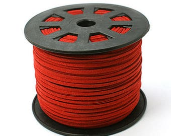 Suede cord red 3mm wide 1 mm thick