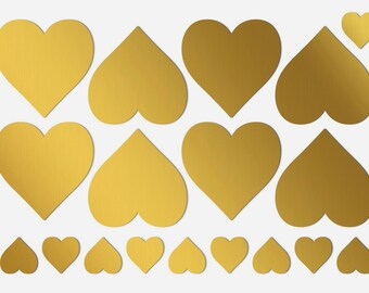 2 inch heart stickers 2 inch gold hearts Gold wedding decorations Shine gold heart labels 2 inch self adhesive hearts