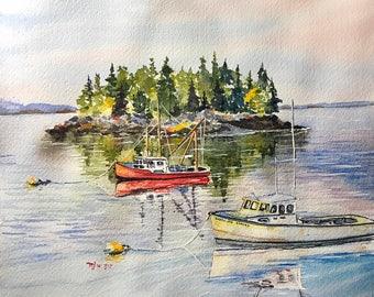 Island (Original Watercolor Painting)