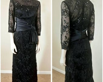 Black gown dress lace embroider, Beaded,sequins by Izidress