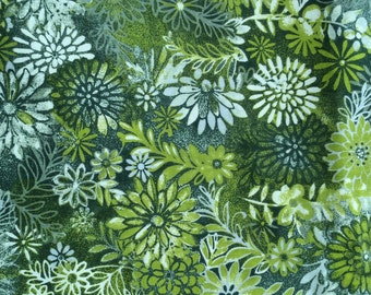 Floral Olive Green Fabric - 1 yard
