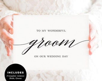 Wedding Day Cards - Great For Vows or Letter to Your Bride or Groom - Editable Templates  - Modern Script #MSC