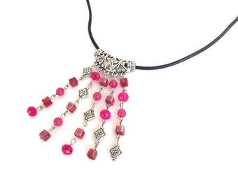 Fuchsia cascade necklace, fuchsia quartzite and crystal cascade necklace on leather cord