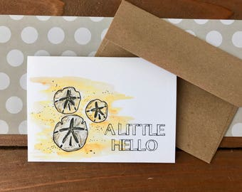 Sand Dollar Card Set, Choose Your Own Saying Personalized Cards - Boxed Set of 8
