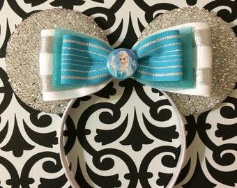 Frozen Elsa Silver inspired Minnie Mouse Headband Ears