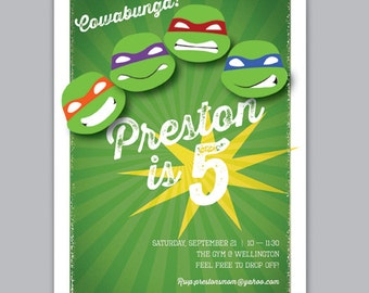 Teenage Mutant Ninja Turtles Printable Birthday Invitation