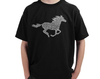 Boy's T-shirt - Horse Breeds Created Using Popular Horse Breeds
