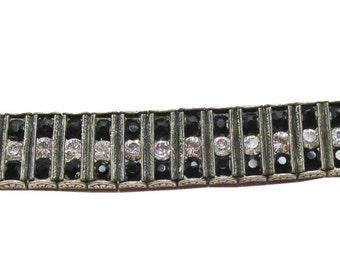 Vintage-Leach&Miller-Jewelry-Silver-Sterling-Rhinestone-Bracelet-Costume Jewelry-Art Deco-Geometric-Gift-Birthday Gift-Anniversary-1920s