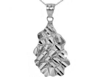 10k White Gold Nugget Necklace