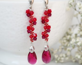 Ruby earrings, Victorian earrings, Bead earrings, Beaded earrings, Swarovski earrings, Red garnet earrings, Beadwork jewelry Unique earrings
