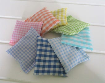 Pastel Gingham Lavender or Balsam Pine Sachet sets of 3 or 7 Gift Ready to Ship