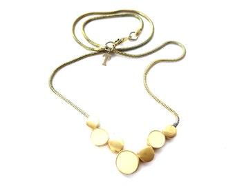 Dainty Signed Trifari Modern / Mod Circular Geometric Cream Enamel & Gold Tone Focal Snake Chain Necklace