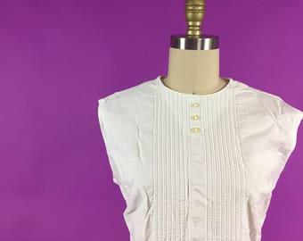 50s Cotton Sleeveless Tuxedo Blouse Medium Large