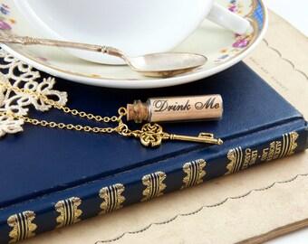 Drink Me Necklace - Bottle Necklace - Alice in Wonderland Gift - Alice in Wonderland Jewellery
