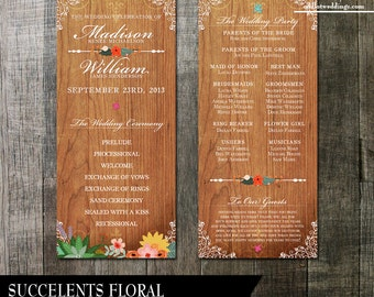Rustic Wedding Programs / digital printable files/  Floral Succulents on a wood background with flourishes