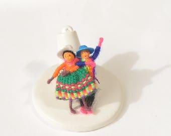 Handmade Colorful Wool woman Man Dancing Brooch Pin